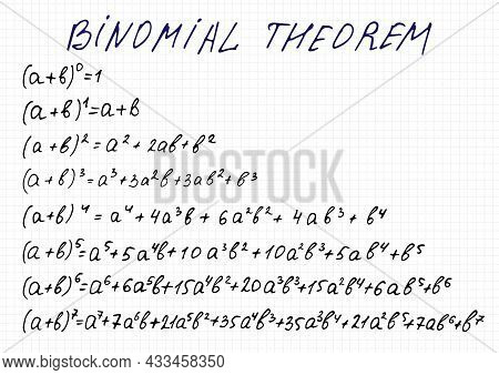 Binomial Expansion For Powers 0 To 7. Vector Illustration Of Handwritten Equations On A Checkered Sh