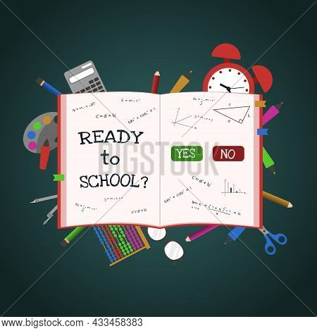 Ready To School Book Study Education Concept Vector Background