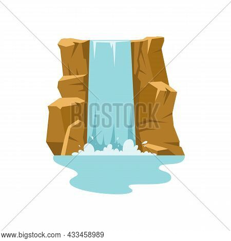 Waterfall Cascade In Mountains, Flat Vector Illustration Isolated On White.