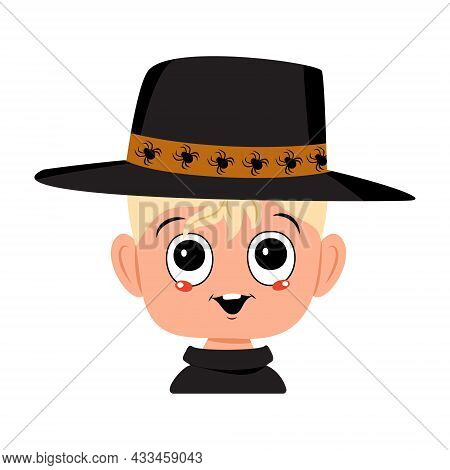 Boy With Blond Hair, Big Eyes And Wide, Happy Smile In Spider Hat. The Head Of Child With Joyful Fac