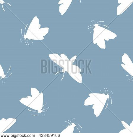 Vector White Butterfly On Delft Blue Background. Seamless Pattern Backdrop With Varied Silhouettes O