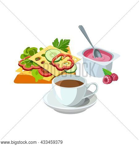 Sample Breakfast Of Sandwich With Tasty Toast, Vegetables, Salad And Cheese, Fruit Yogurt And Cup Of