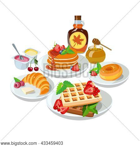 Sample Breakfast Desserts: Pancakes, Maple Syrup, Honey, Donut. Classic Hotel Set With Belgian Waffl