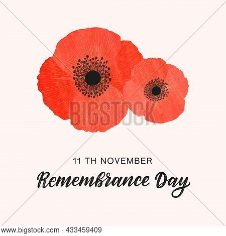 Remembrance Day Minimalistic Card. Red Watercolour Poppies Decorated By Golden Lines As Symbol Of Co