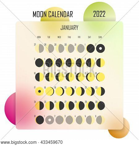 January 2022 Moon Calendar. Astrological Calendar Design. Planner. Place For Stickers. Month Cycle P
