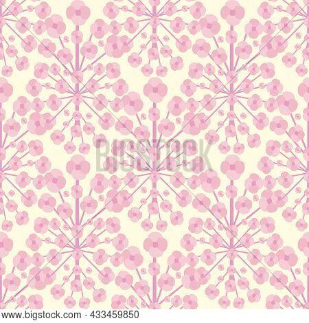 Stylized Sakura Blossom Seamless Vector Pattern Background. Millefleur Style Blended Backdrop In Pin