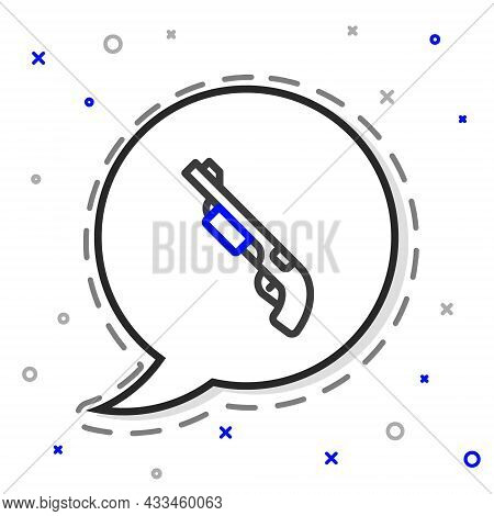 Line Police Shotgun Icon Isolated On White Background. Hunting Shotgun. Colorful Outline Concept. Ve