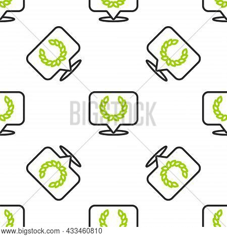 Line Laurel Wreath Icon Isolated Seamless Pattern On White Background. Triumph Symbol. Vector