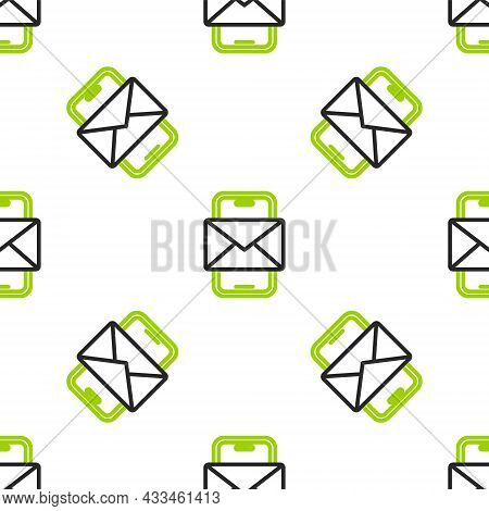 Line Mobile And Envelope, New Message, Mail Icon Isolated Seamless Pattern On White Background. Usag