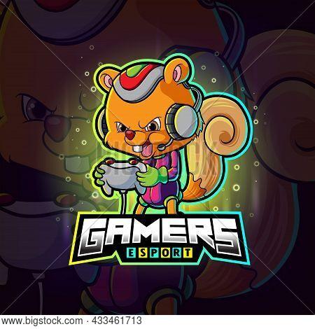 The Gamers Squirrel Esport Logo Design Of Illustration