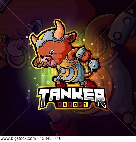 The Tanker Bull Esport Logo Design Of Illustration