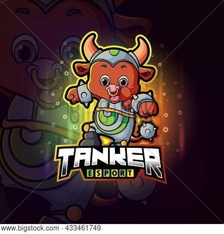 The Tanker Happy Bull Esport Logo Design Of Illustration