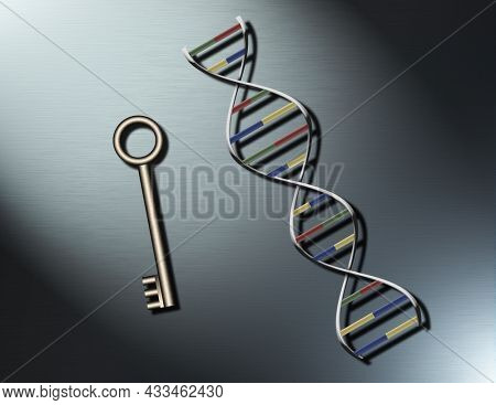 DNA strand and key. 3D rendering