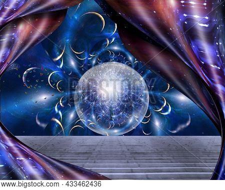 Soul emerging in space. 3D rendering