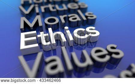 Ethics Values Morals Virtues Good Behavior Review Words 3d Illustration