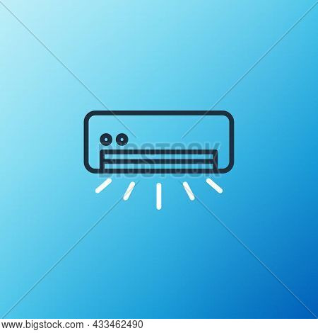 Line Air Conditioner Icon Isolated On Blue Background. Split System Air Conditioning. Cool And Cold