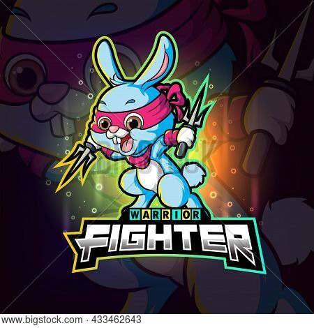The Fighter Rabbit With The Trident Esport Logo Design Of Illustration