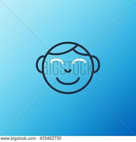 Line Happy Little Boy Head Icon Isolated On Blue Background. Face Of Baby Boy. Colorful Outline Conc