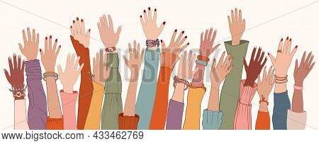 Raised Hands And Arms Of Multi-ethnic International Multicultural Women. Anti-racism Racial Equality