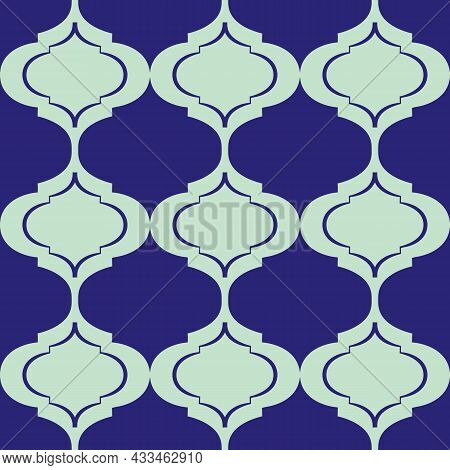 Roman Ogee Abstract Vector Seamless Pattern Background With Elongated Shapes. Elegant Geometric Back