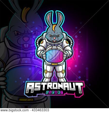 The Astronaut Rabbit Esport Logo Design Of Illustration