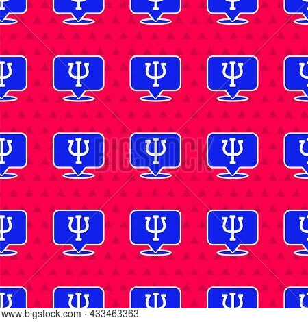 Blue Psychology Icon Isolated Seamless Pattern On Red Background. Psi Symbol. Mental Health Concept,
