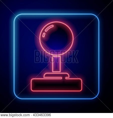 Glowing Neon Joystick For Arcade Machine Icon Isolated On Blue Background. Joystick Gamepad. Vector