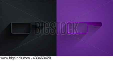 Paper Cut Saucepan Icon Isolated On Black On Purple Background. Cooking Pot. Boil Or Stew Food Symbo