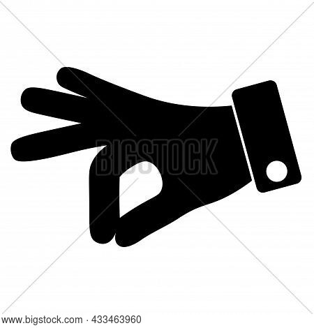 Black Simple Icon Of Human Gesture Hand - Give To Take Or Put Sign. Image In Flat Style. Vector Illu
