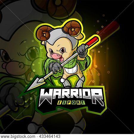 The Warrior Sheep Esport Mascot Design Of Illustration