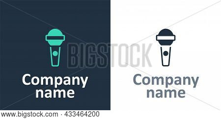 Logotype Microphone Icon Isolated On White Background. On Air Radio Mic Microphone. Speaker Sign. Lo
