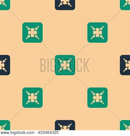Green And Black Target Financial Goal Concept Icon Isolated Seamless Pattern On Beige Background. Sy