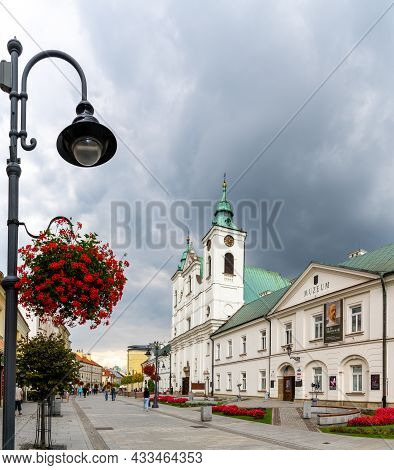 View Of The 3 Maja Street In Downtown Rzeszow With Ist Many Restaurants And Shops And The Historic C