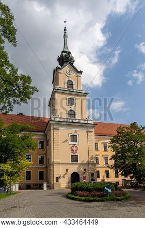 View Of The Lubomirski Castle Entrance And Gate In The Historic Old Town Of Rzeszow