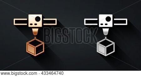Gold And Silver 3d Printer Cube Icon Isolated On Black Background. 3d Printing. Long Shadow Style. V