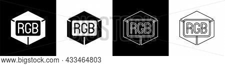 Set Rgb And Cmyk Color Mixing Icon Isolated On Black And White Background. Vector