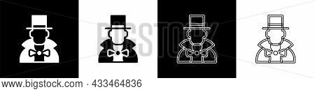 Set Magician Icon Isolated On Black And White Background. Vector