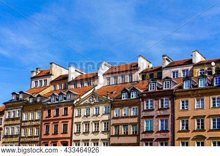 The Colorful Houses On The Old Market Square In The Historic City Center Of Warsaw
