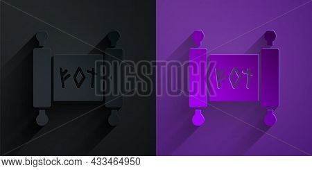 Paper Cut Magic Scroll Icon Isolated On Black On Purple Background. Decree, Paper, Parchment, Scroll