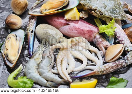 Seafood Shellfish On Ice Frozen With Shrimps Prawns Crab Claws Shell Clam Squids Octopus And Mussels