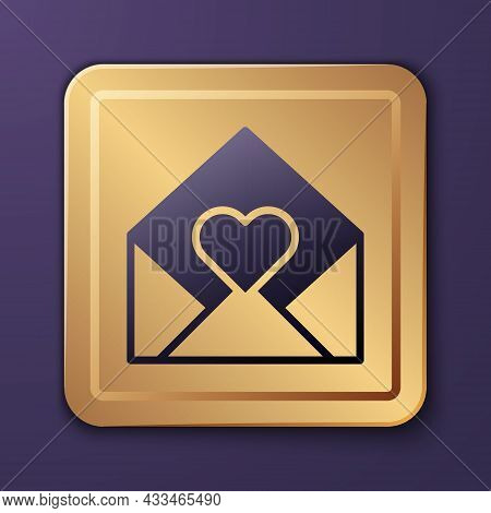Purple Envelope With Valentine Heart Icon Isolated On Purple Background. Message Love. Letter Love A