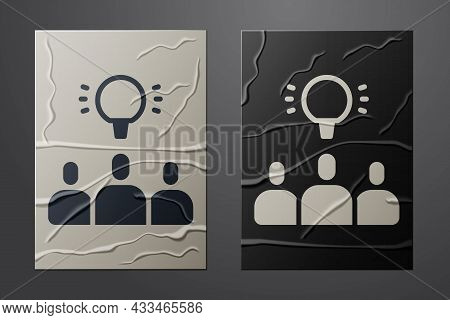 White Project Team Base Icon Isolated On Crumpled Paper Background. Business Analysis And Planning,