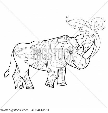 Contour Linear Illustration With Animal For Coloring Book. Cute Rhino, Anti Stress Picture. Line Art