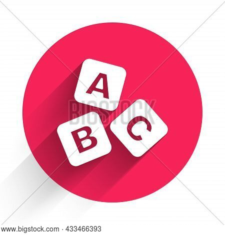 White Abc Blocks Icon Isolated With Long Shadow Background. Alphabet Cubes With Letters A, B, C. Red