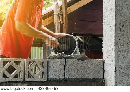 Motion Blur Bricklayer Man Working Build For Construction At Home