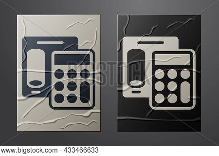 White Calculator Icon Isolated On Crumpled Paper Background. Accounting Symbol. Business Calculation