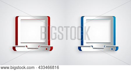 Paper Cut Laptop Icon Isolated On Grey Background. Computer Notebook With Empty Screen Sign. Paper A