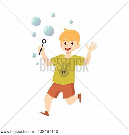 Happy Boy Running Blowing Soap Bubbles, Flat Vector Illustration Isolated.