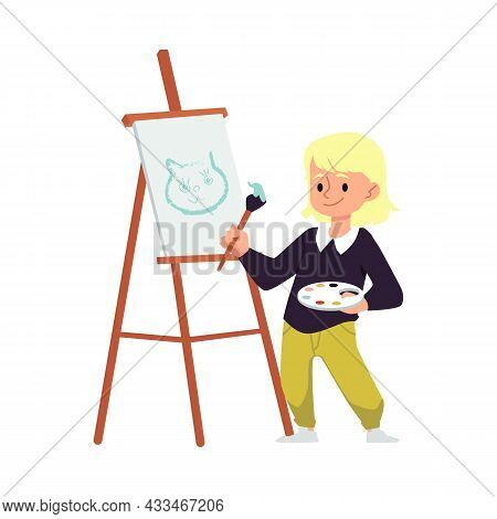 Blonde Girl Standing Behind Easel Painting, Isolated Flat Vector Illustration.