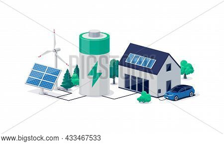 Home Virtual Battery Energy Storage With Solar Panels And Electric Car Charging